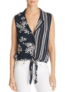 AQUA Mixed-Print Tie-Front Top - 100% Exclusive