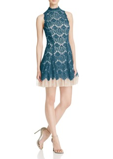 AQUA Mock-Neck Lace Dress - 100% Exclusive