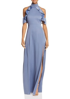AQUA Mock-Neck Ruffle Gown - 100% Exclusive