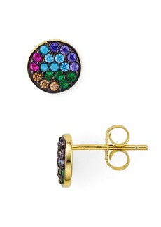 AQUA Multicolor Circle Stud Earrings in Gold Tone-Plated Sterling Silver - 100% Exclusive