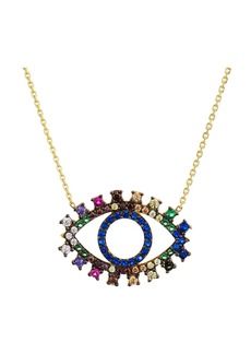 "AQUA Multicolor Eye Pendant Necklace in Gold Tone-Plated Sterling Silver, 15"" - 100% Exclusive"