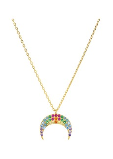 """AQUA Multicolor Crescent Moon Pendant Necklace in 18K Gold Tone-Plated Sterling Silver, 14"""" - 100% Exclusive"""