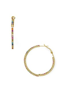 AQUA Multicolor Pav� Hoop Earrings in 18K Gold-Plated Sterling Silver or Sterling Silver - 100% Exclusive