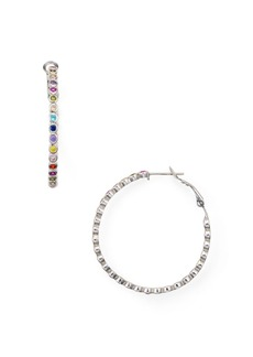 AQUA Multicolor Stone Hoop Earrings in 18K Gold-Plated Sterling Silver or Sterling Silver - 100% Exclusive