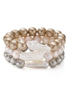 AQUA Natural Freshwater Pearl Bracelets, Set of 3 - 100% Exclusive