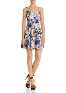 AQUA Notch Floral Fit-and-Flare Dress - 100% Exclusive