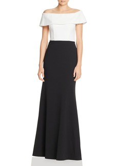 AQUA Off-the-Shoulder Color-Block Gown - 100% Exclusive