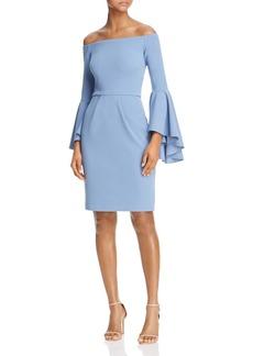 AQUA Off-the-Shoulder Crepe Bell-Sleeve Dress - 100% Exclusive