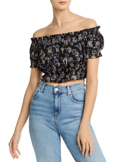 AQUA Off-the-Shoulder Floral Cropped Top - 100% Exclusive