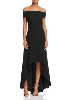AQUA Off-the-Shoulder High/Low Gown