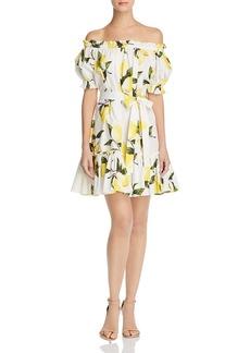 AQUA Off-the-Shoulder Lemon Print Dress - 100% Exclusive