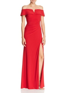 AQUA Off-the-Shoulder Ruched Gown - 100% Exclusive