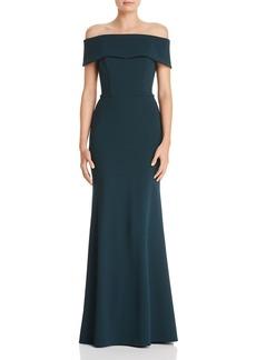 bda0a4daec2 AQUA Off-the-Shoulder Scuba Crepe Gown - 100% Exclusive