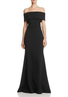 AQUA Off-the-Shoulder Scuba Crepe Gown - 100% Exclusive