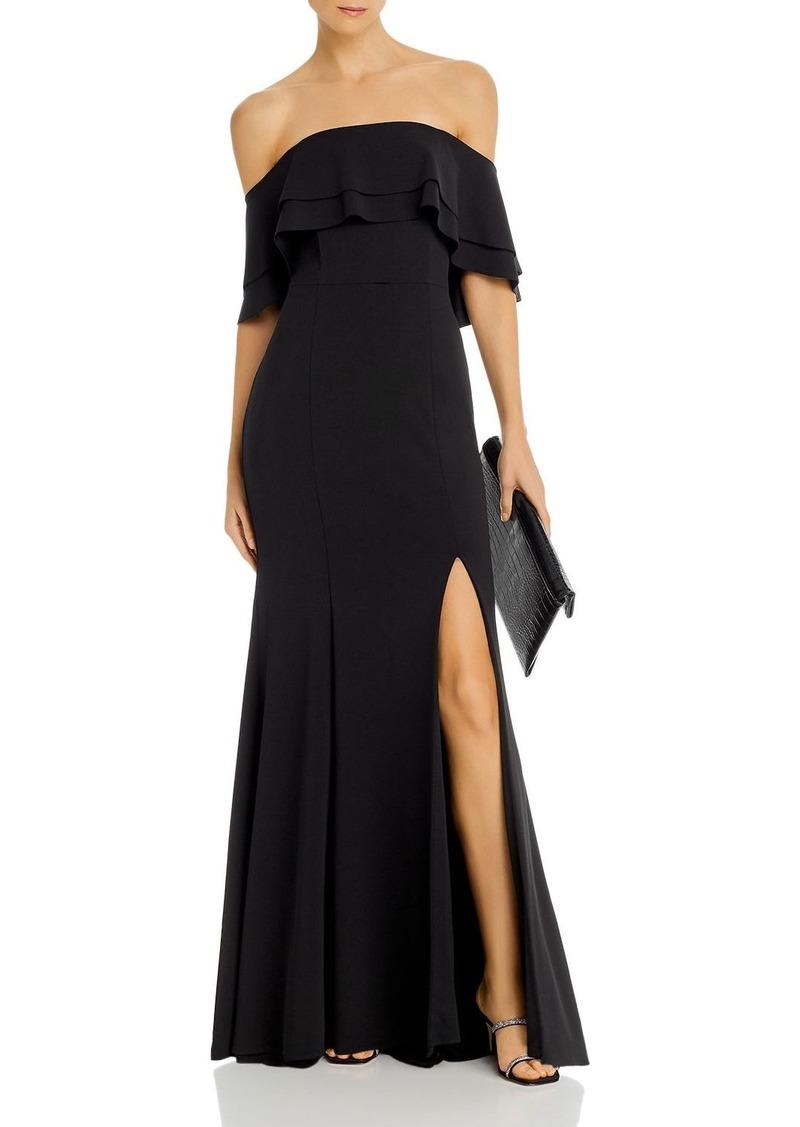 AQUA Off-the-Shoulder Scuba Cr�pe Gown - 100% Exclusive