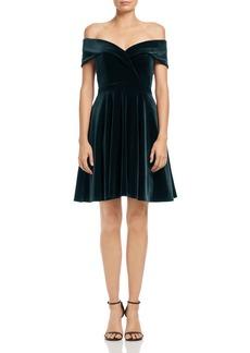 AQUA Off-the-Shoulder Velvet Fit-and-Flare Dress - 100% Exclusive