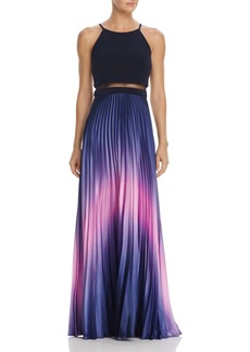 AQUA Ombr� Pleated Illusion Waist Gown - 100% Exclusive