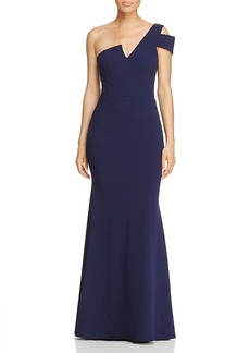 Aqua One-Shoulder Ruffle-Back Gown - 100% Exclusive
