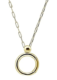 "AQUA Open Circle Charm-Holder Pendant Necklace in 18K Gold-Plated Sterling Silver or Sterling Silver, 16"" - 100% Exclusive"