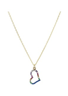 """AQUA Open Heart Pendant Necklace in 18K Gold-Plated Sterling Silver, 16"""" - 100% Exclusive"""