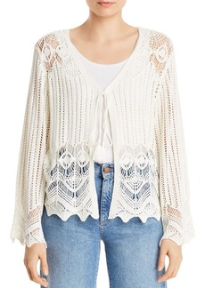 AQUA Open-Knit Tie-Front Cardigan - 100% Exclusive