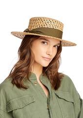 AQUA Open Weave Straw Boater Hat