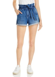 AQUA Paper Bag Jean Shorts in Blue - 100% Exclusive