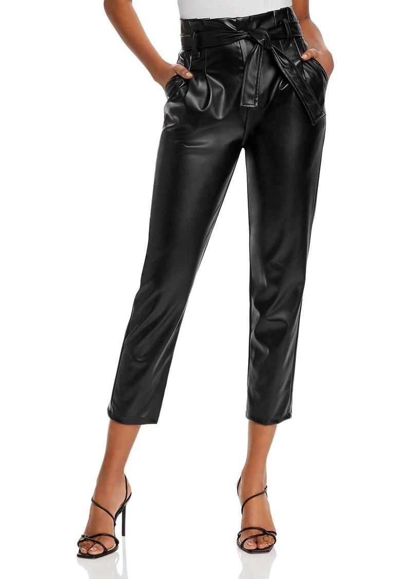 AQUA Paperbag-Waist Faux Leather Pants - 100% Exclusive
