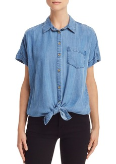 AQUA Tie-Hem Chambray Shirt - 100% Exclusive