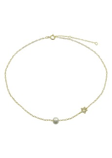 "AQUA Pav� Star & Cultured Freshwater Pearl Collar Necklace, 15.5""-17.5"" - 100% Exclusive"