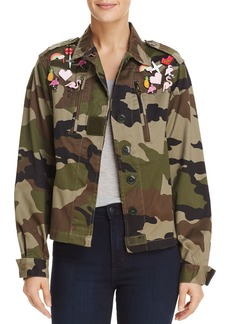 AQUA Pin Embellished Embroidered Army Jacket - 100% Exclusive