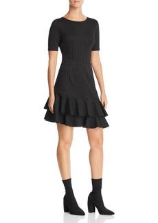 AQUA Pinstripe Asymmetric Flounce Hem Dress - 100% Exclusive