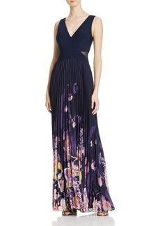 AQUA Pleated Chiffon Combo Gown - 100% Exclusive