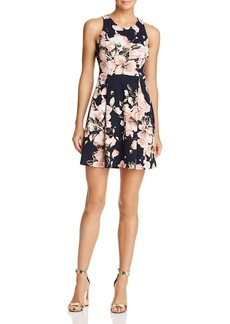 AQUA Pleated Floral Fit-and-Flare Dress - 100% Exclusive