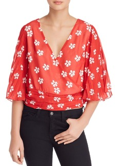 AQUA Pleated-Sleeve Floral Cropped Top - 100% Exclusive