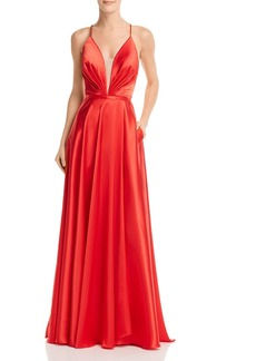 AQUA Plunging Charmeuse Gown - 100% Exclusive