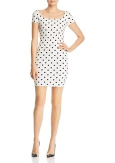 AQUA Polka Dot Body-Con Mini Dress - 100% Exclusive