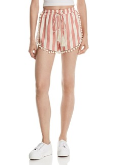 AQUA Pom-Pom Trim Striped Shorts - 100% Exclusive