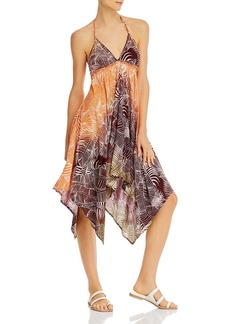 AQUA Printed Asymmetric Halter Dress - 100% Exclusive