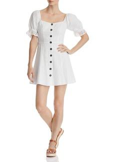 AQUA Puff-Sleeve Button Detail Dress - 100% Exclusive