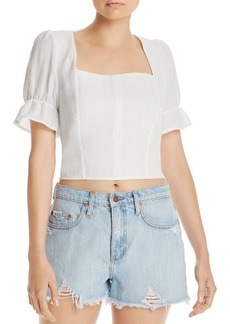 AQUA Puff-Sleeve Cropped Top - 100% Exclusive