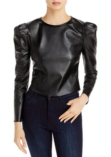 AQUA Puff Sleeve Faux Leather Top - 100% Exclusive