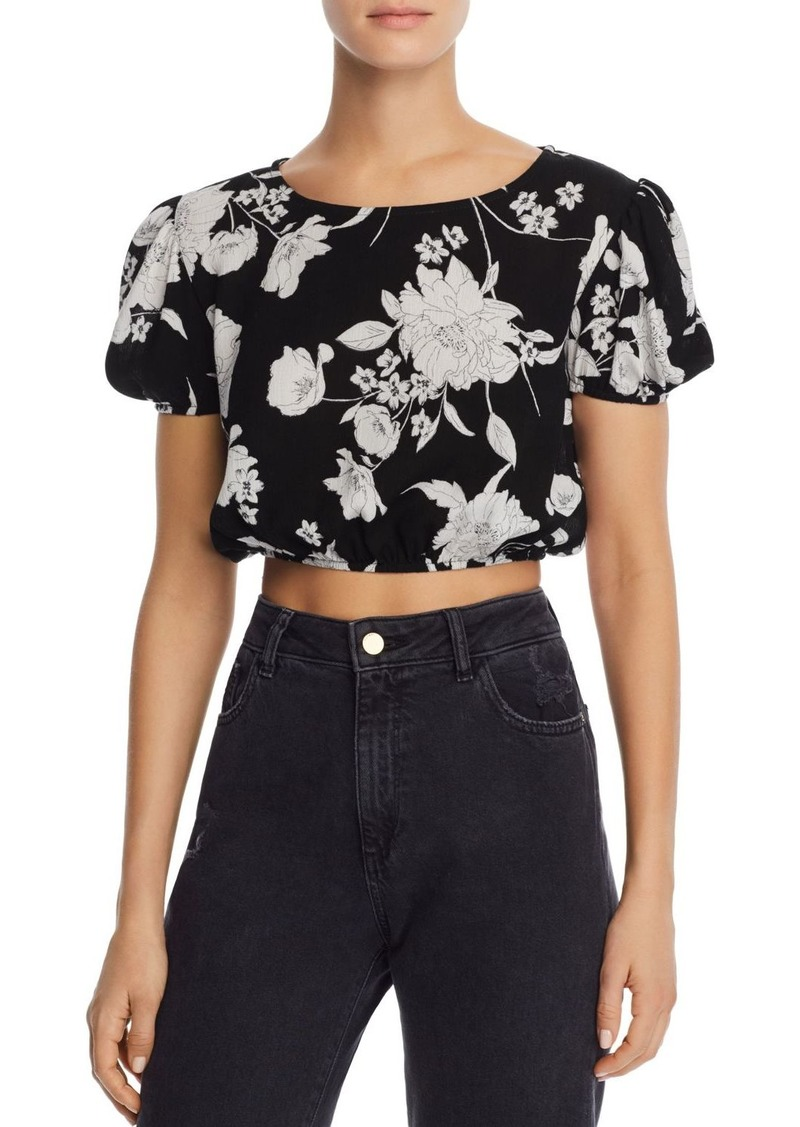 AQUA Puff-Sleeve Floral Cropped Top - 100% Exclusive