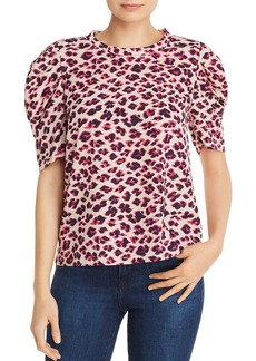 AQUA Puff-Sleeve Leopard Print Top - 100% Exclusive