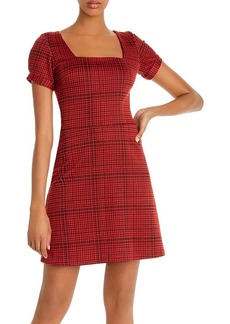 AQUA Puff-Sleeve Plaid Dress - 100% Exclusive