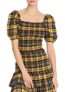 AQUA Puff-Sleeve Plaid Smocked Top - 100% Exclusive
