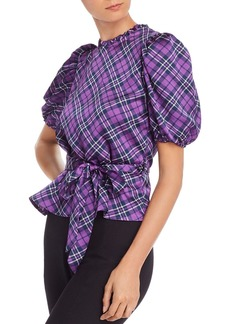 AQUA Puff-Sleeve Plaid Top - 100% Exclusive