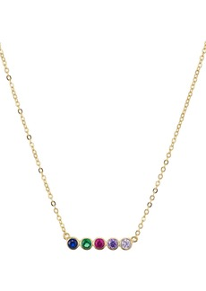 """AQUA Rainbow Bar Pendant Necklace in 14K Gold-Plated Sterling Silver, 15"""" - 100% Exclusive"""