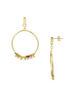 AQUA Rainbow Beaded Frontal Hoop Earrings in 18K Gold-Plated Sterling Silver - 100% Exclusive