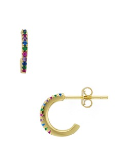 AQUA Rainbow Huggie Hoop Earrings in 14K Gold-Plated Sterling Silver - 100% Exclusive